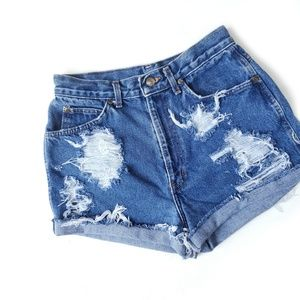Vintage Hand Distressed Jean High Waisted Shorts
